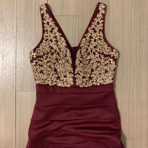 Honey and Rosie Maroon Formal Dress w/ Gold Detail